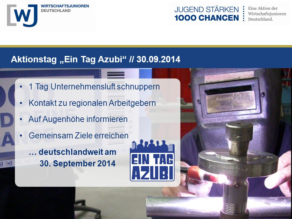 """Aktionstag """"Ein Tag Azubi // 30.09.2014"""