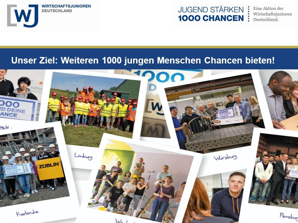 Unser Ziel: Weiteren 1000 jungen Menschen Chancen bieten!