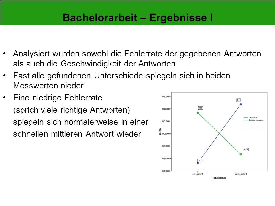 Bachelorarbeit – Ergebnisse I