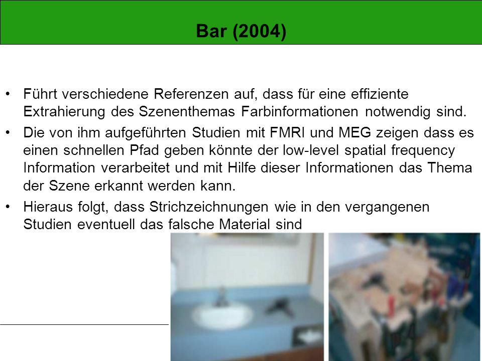 Bar (2004) Führt verschiedene Referenzen auf, dass für eine effiziente Extrahierung des Szenenthemas Farbinformationen notwendig sind.
