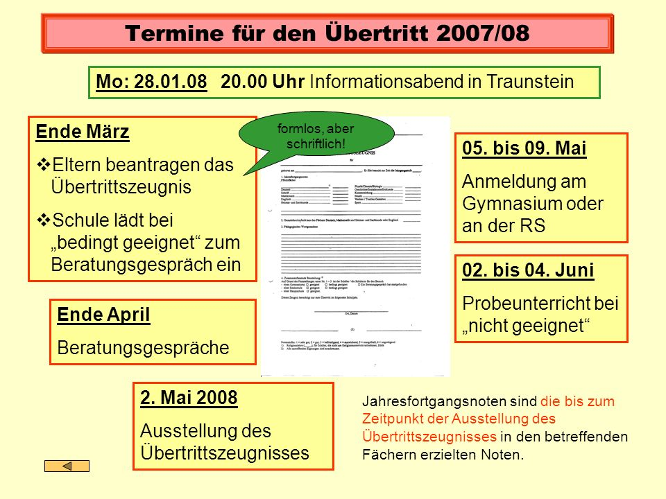 Termine für den Übertritt 2007/08