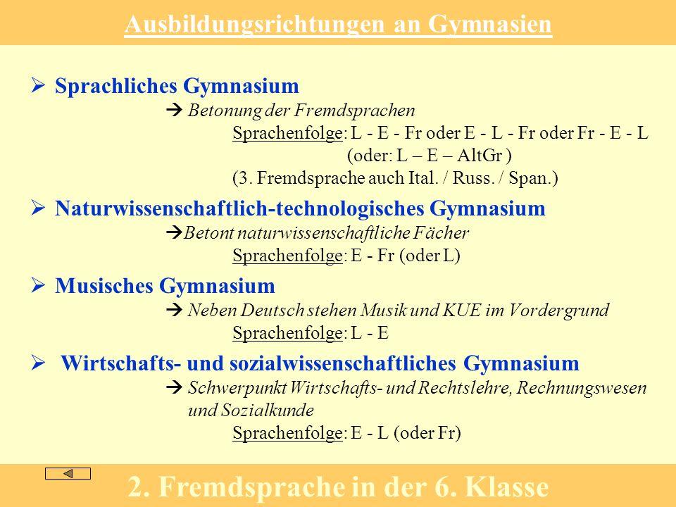 Ausbildungsrichtungen an Gymnasien