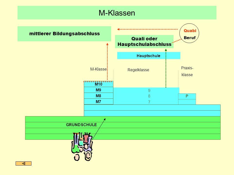 M-Klassen mittlerer Bildungsabschluss Quali oder Hauptschulabschluss