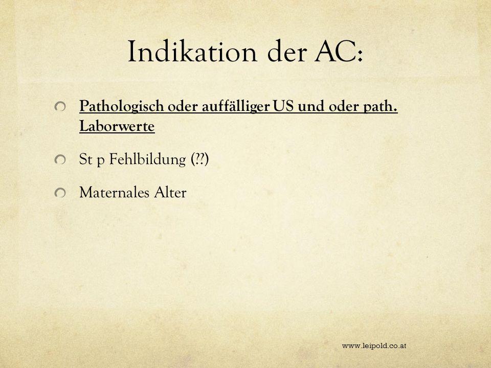 Indikation der AC: Pathologisch oder auffälliger US und oder path. Laborwerte. St p Fehlbildung ( )