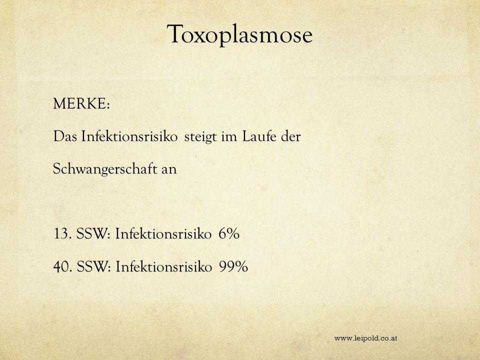 Toxoplasmose MERKE: Das Infektionsrisiko steigt im Laufe der Schwangerschaft an 13. SSW: Infektionsrisiko 6% 40. SSW: Infektionsrisiko 99%