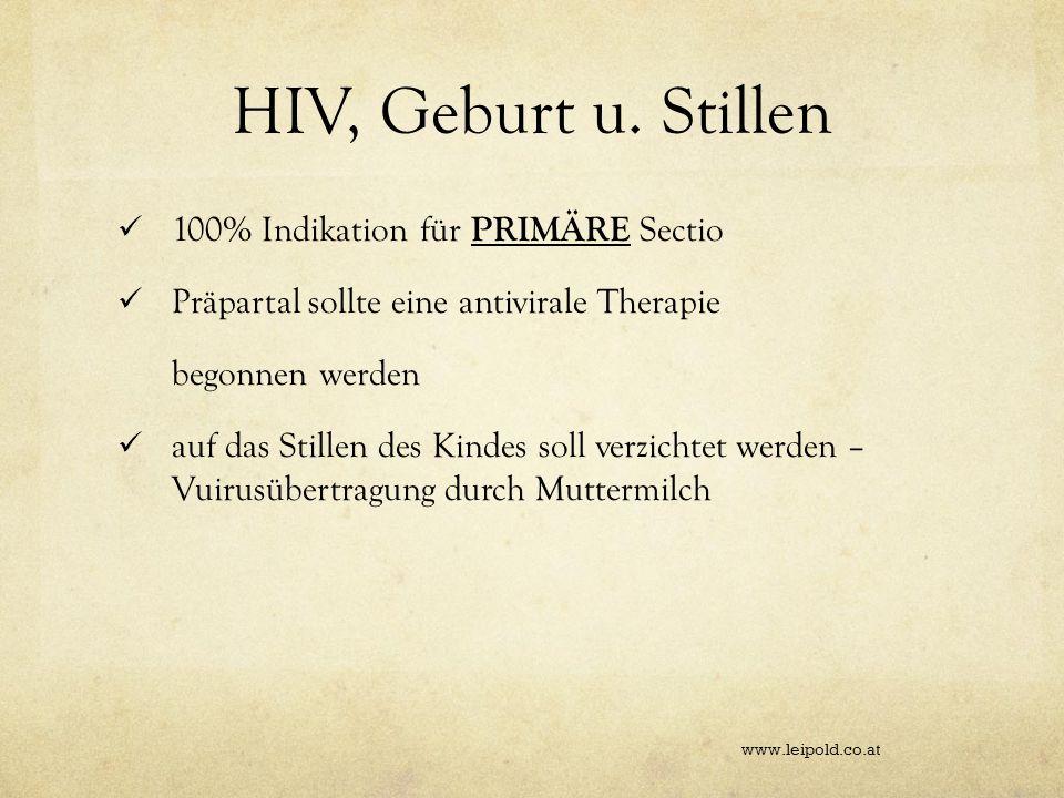 HIV, Geburt u. Stillen 100% Indikation für PRIMÄRE Sectio