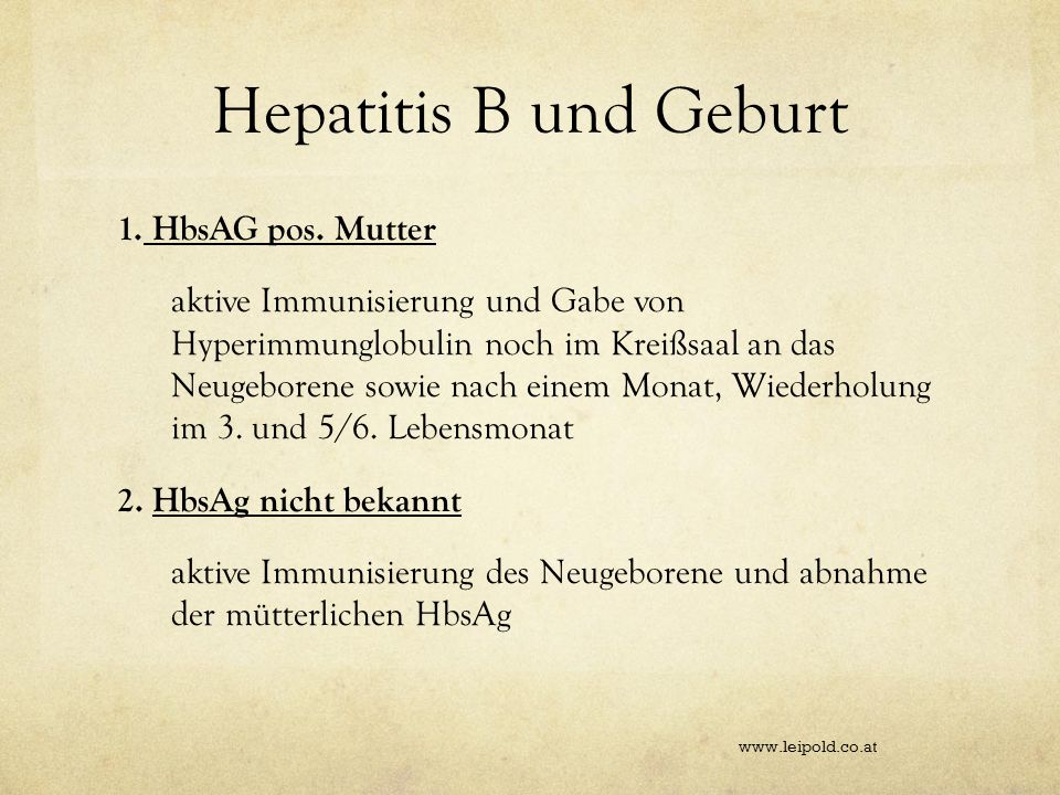 Hepatitis B und Geburt