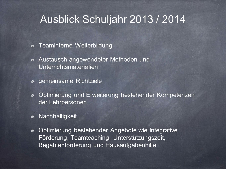 Ausblick Schuljahr 2013 / 2014 Teaminterne Weiterbildung