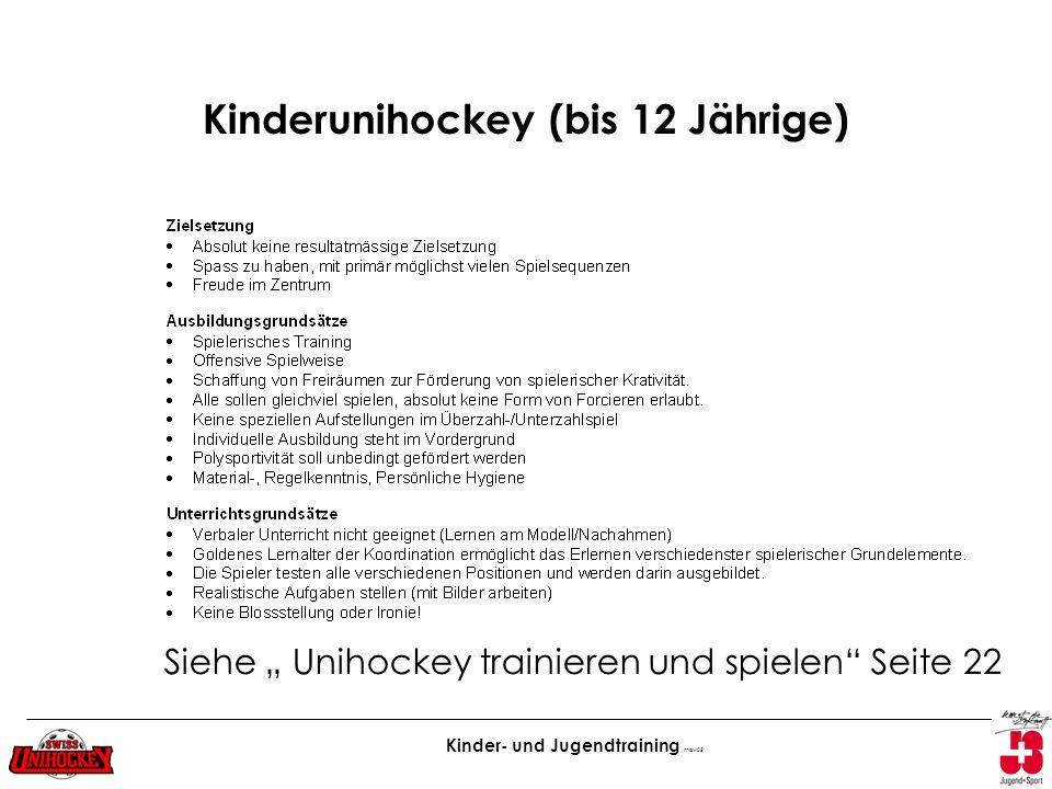 Kinderunihockey (bis 12 Jährige)