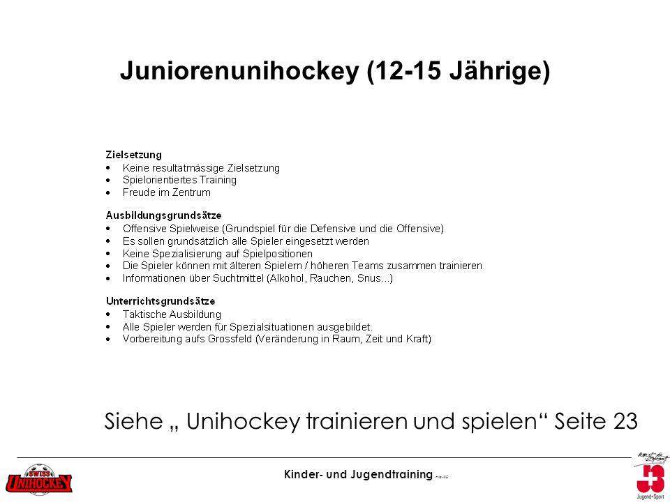 Juniorenunihockey (12-15 Jährige)