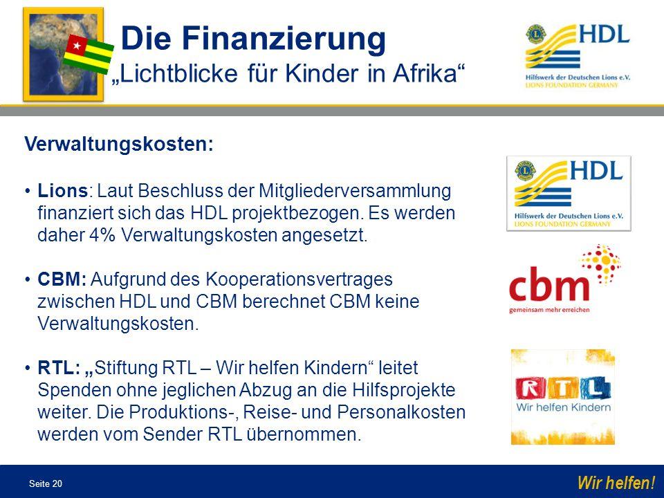 """Die Finanzierung """"Lichtblicke für Kinder in Afrika Verwaltungskosten:"""