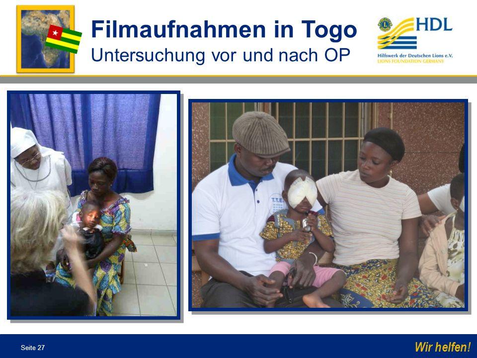 Filmaufnahmen in Togo Untersuchung vor und nach OP