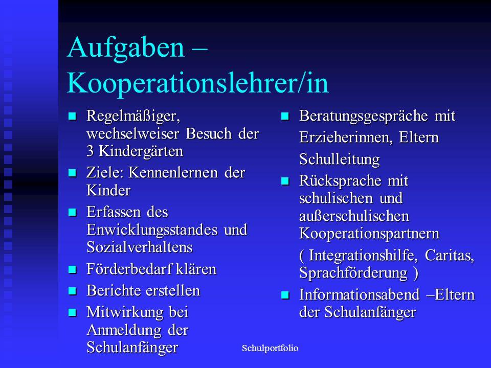 Aufgaben – Kooperationslehrer/in