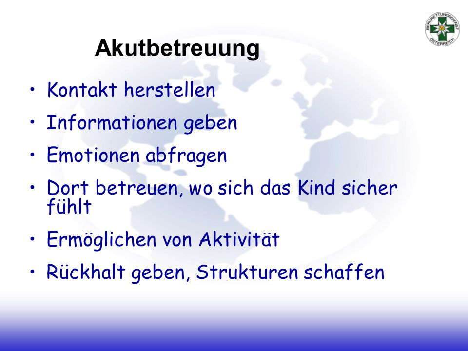 Akutbetreuung Kontakt herstellen Informationen geben