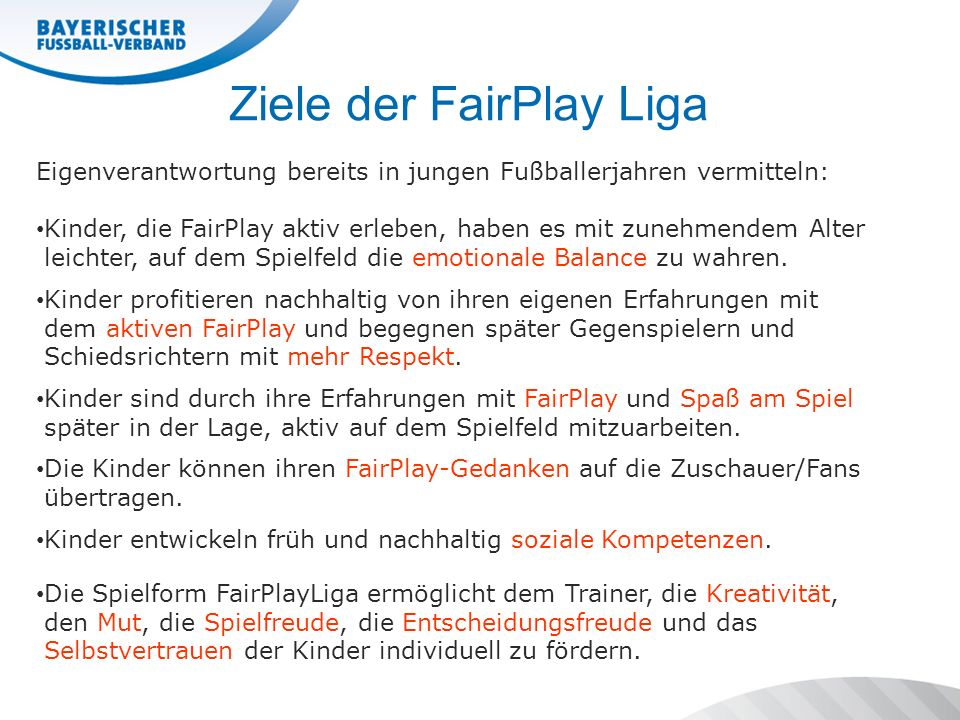 Ziele der FairPlay Liga