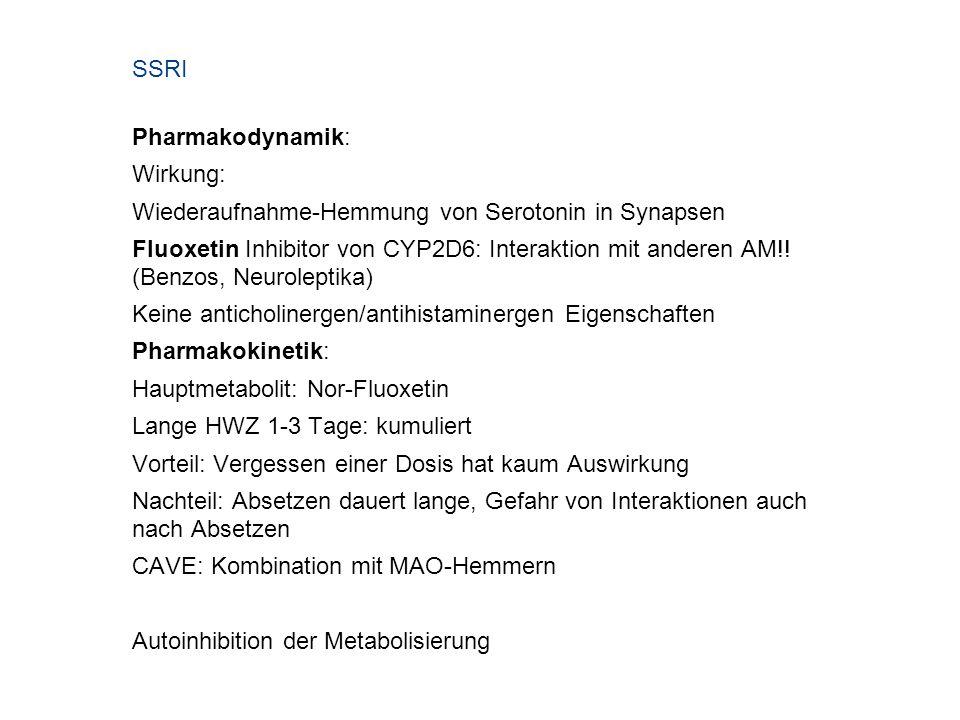 SSRI Pharmakodynamik: Wirkung: Wiederaufnahme-Hemmung von Serotonin in Synapsen.