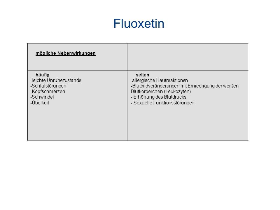 Fluoxetin mögliche Nebenwirkungen häufig leichte Unruhezustände