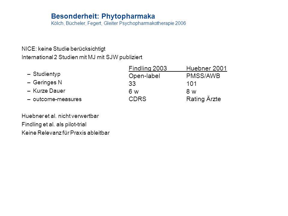 Besonderheit: Phytopharmaka Kölch, Bücheler, Fegert, Gleiter Psychopharmakotherapie 2006