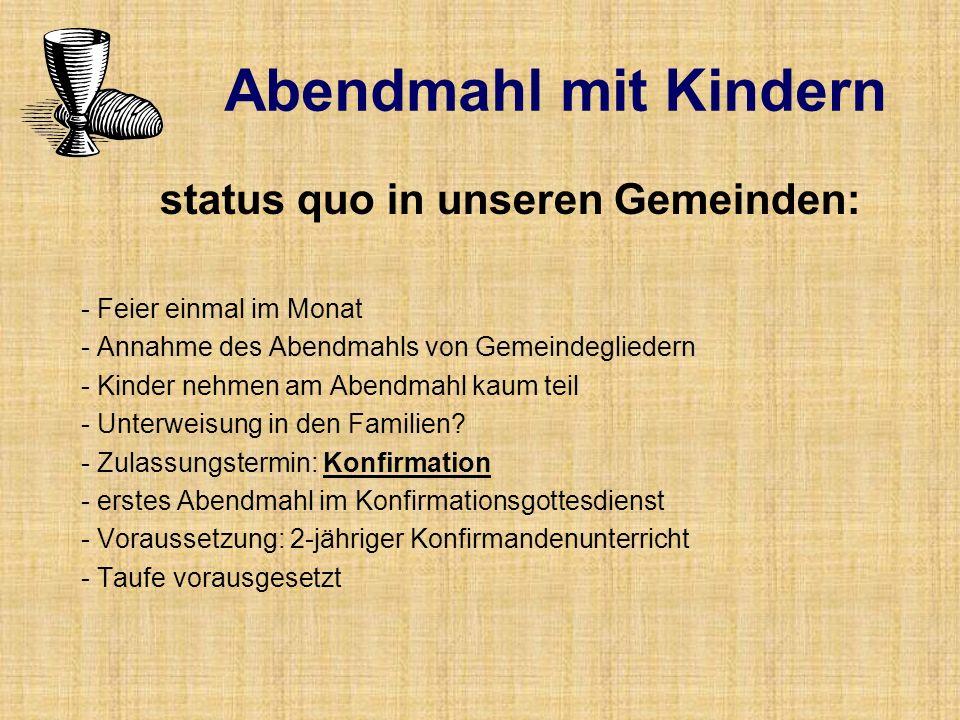 status quo in unseren Gemeinden: