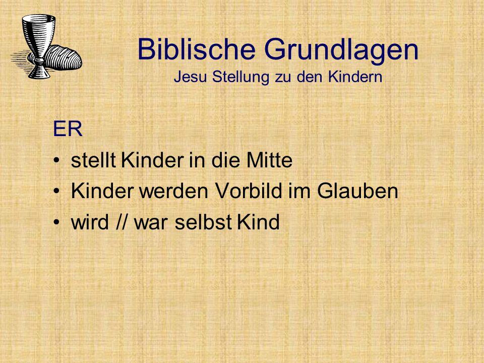 Biblische Grundlagen Jesu Stellung zu den Kindern