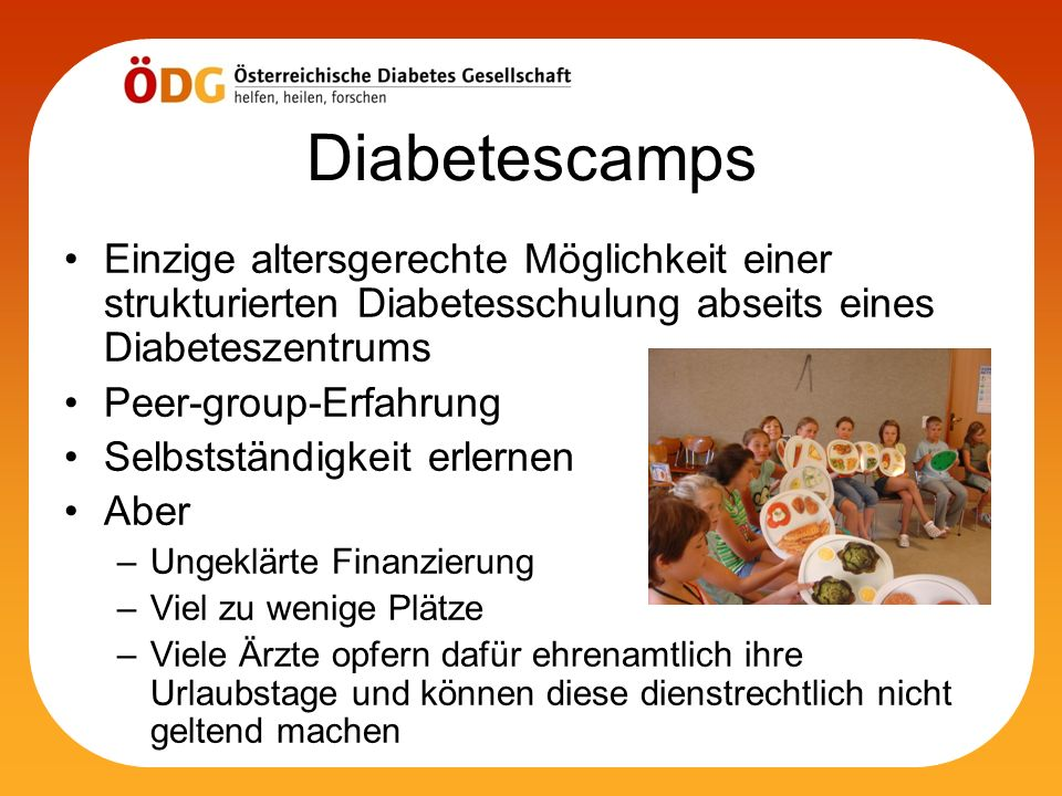 Diabetescamps Einzige altersgerechte Möglichkeit einer strukturierten Diabetesschulung abseits eines Diabeteszentrums.