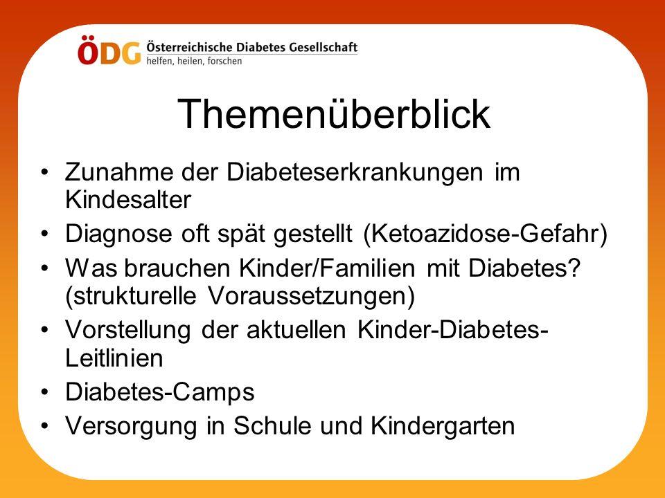 Themenüberblick Zunahme der Diabeteserkrankungen im Kindesalter