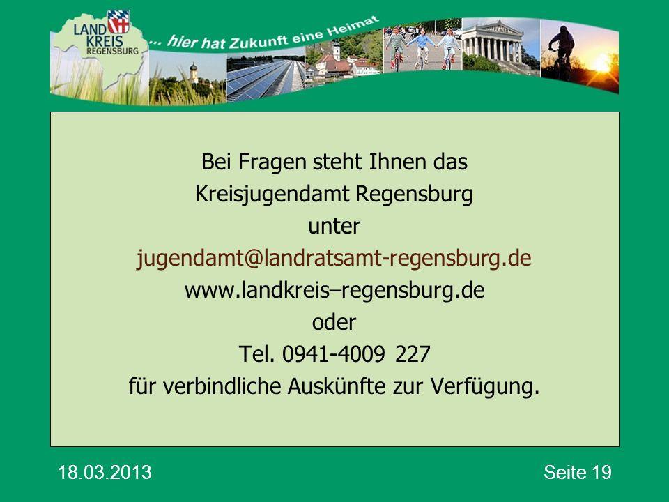 Bei Fragen steht Ihnen das Kreisjugendamt Regensburg unter