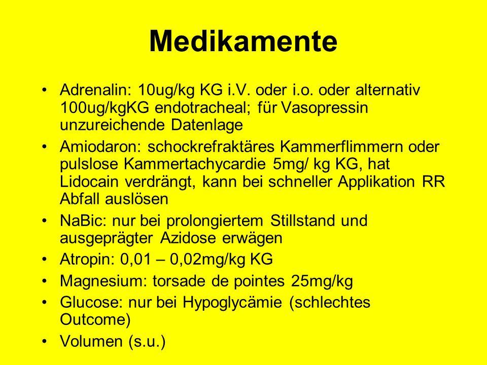 Medikamente Adrenalin: 10ug/kg KG i.V. oder i.o. oder alternativ 100ug/kgKG endotracheal; für Vasopressin unzureichende Datenlage.
