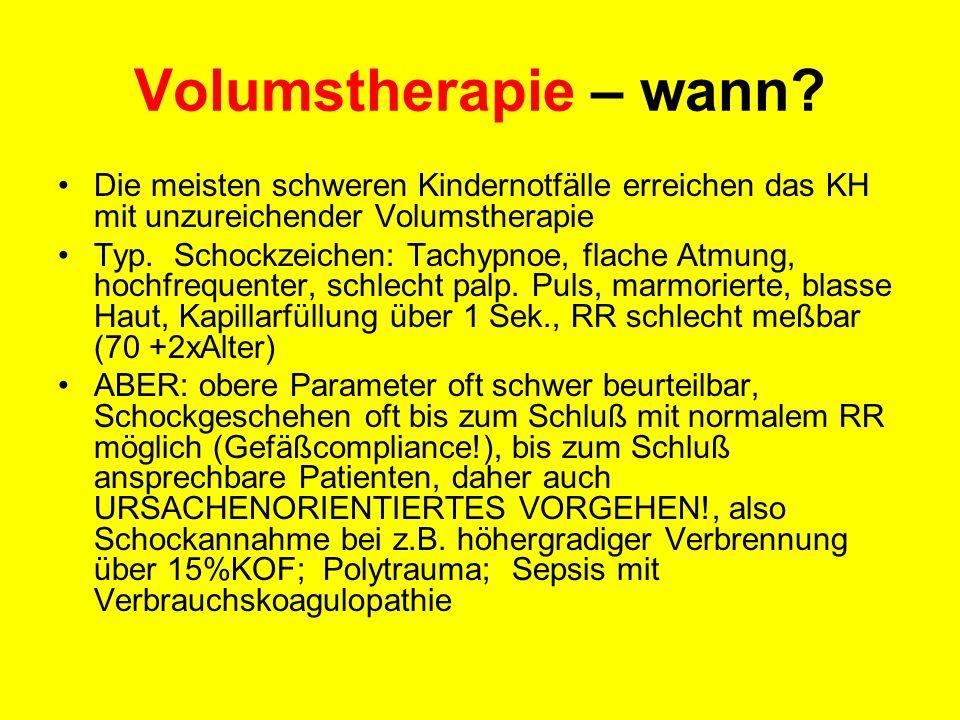 Volumstherapie – wann Die meisten schweren Kindernotfälle erreichen das KH mit unzureichender Volumstherapie.