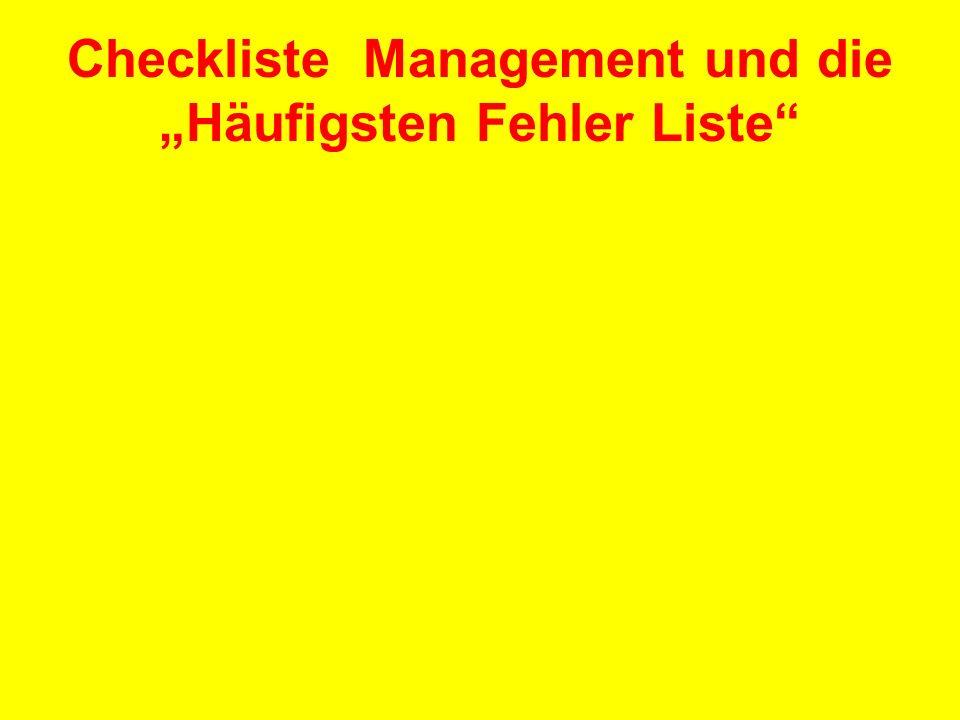 """Checkliste Management und die """"Häufigsten Fehler Liste"""