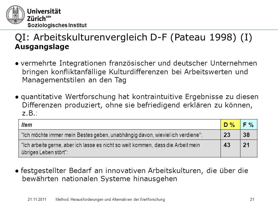 QI: Arbeitskulturenvergleich D-F (Pateau 1998) (I)