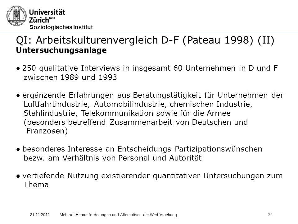 QI: Arbeitskulturenvergleich D-F (Pateau 1998) (II)