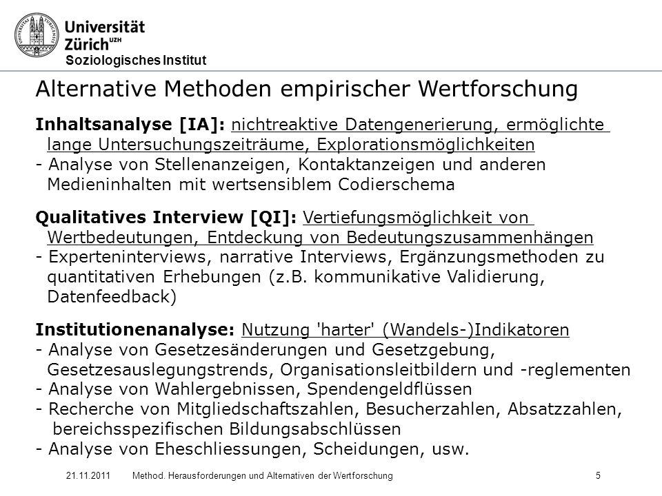 Alternative Methoden empirischer Wertforschung