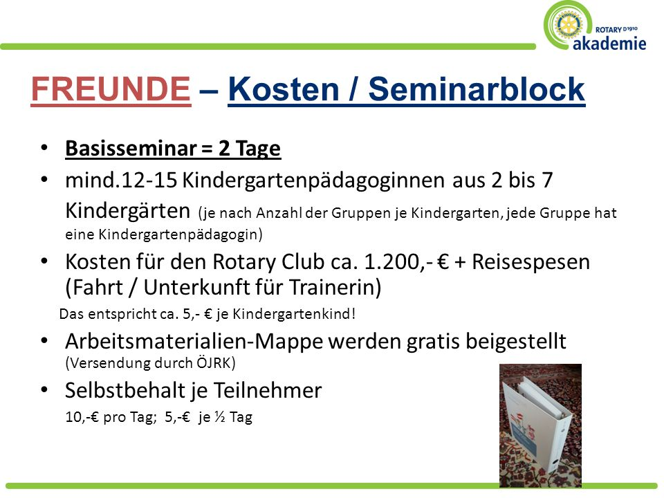 FREUNDE – Kosten / Seminarblock