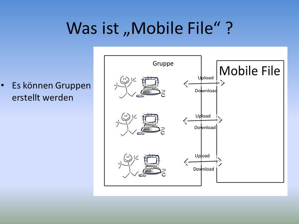 """Was ist """"Mobile File Es können Gruppen erstellt werden"""