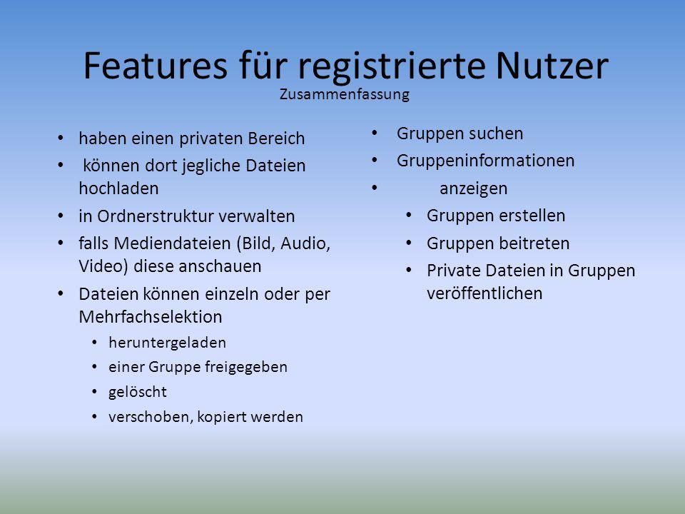 Features für registrierte Nutzer