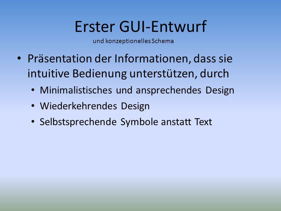 Erster GUI-Entwurf und konzeptionelles Schema. Präsentation der Informationen, dass sie intuitive Bedienung unterstützen, durch.