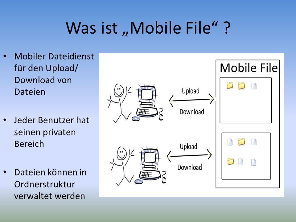 """Was ist """"Mobile File Mobiler Dateidienst für den Upload/ Download von Dateien. Jeder Benutzer hat seinen privaten Bereich."""