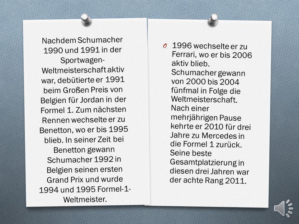 Nachdem Schumacher 1990 und 1991 in der Sportwagen-Weltmeisterschaft aktiv war, debütierte er 1991 beim Großen Preis von Belgien für Jordan in der Formel 1. Zum nächsten Rennen wechselte er zu Benetton, wo er bis 1995 blieb. In seiner Zeit bei Benetton gewann Schumacher 1992 in Belgien seinen ersten Grand Prix und wurde 1994 und 1995 Formel-1-Weltmeister.