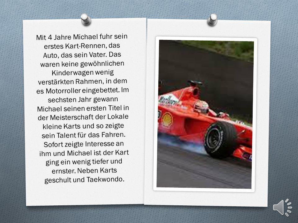 Mit 4 Jahre Michael fuhr sein erstes Kart-Rennen, das Auto, das sein Vater.