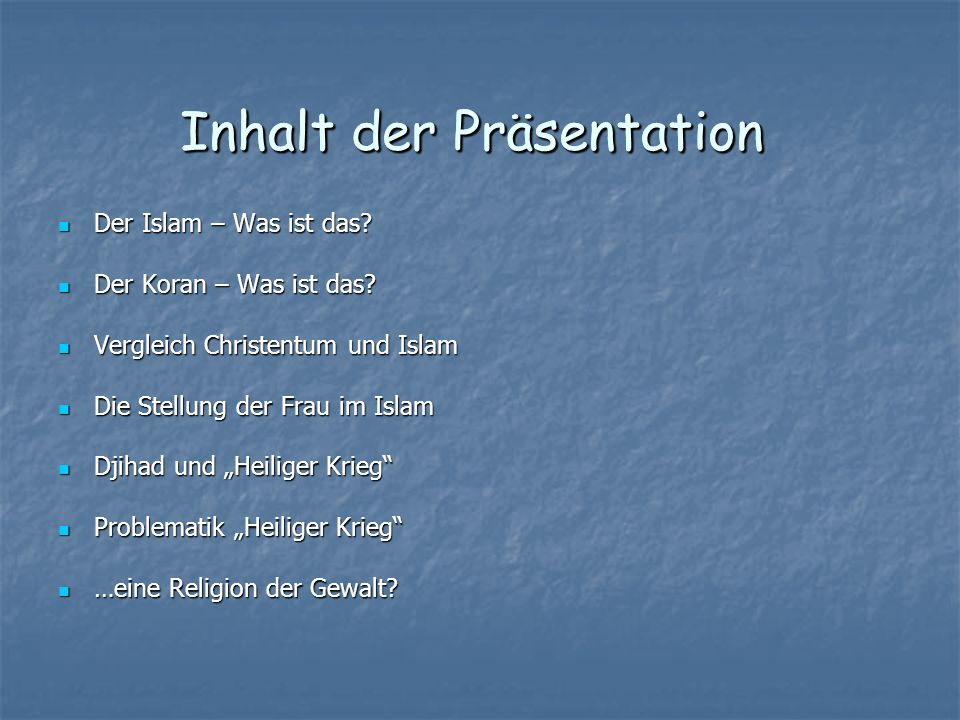 Inhalt der Präsentation Inhalt der Präsentation
