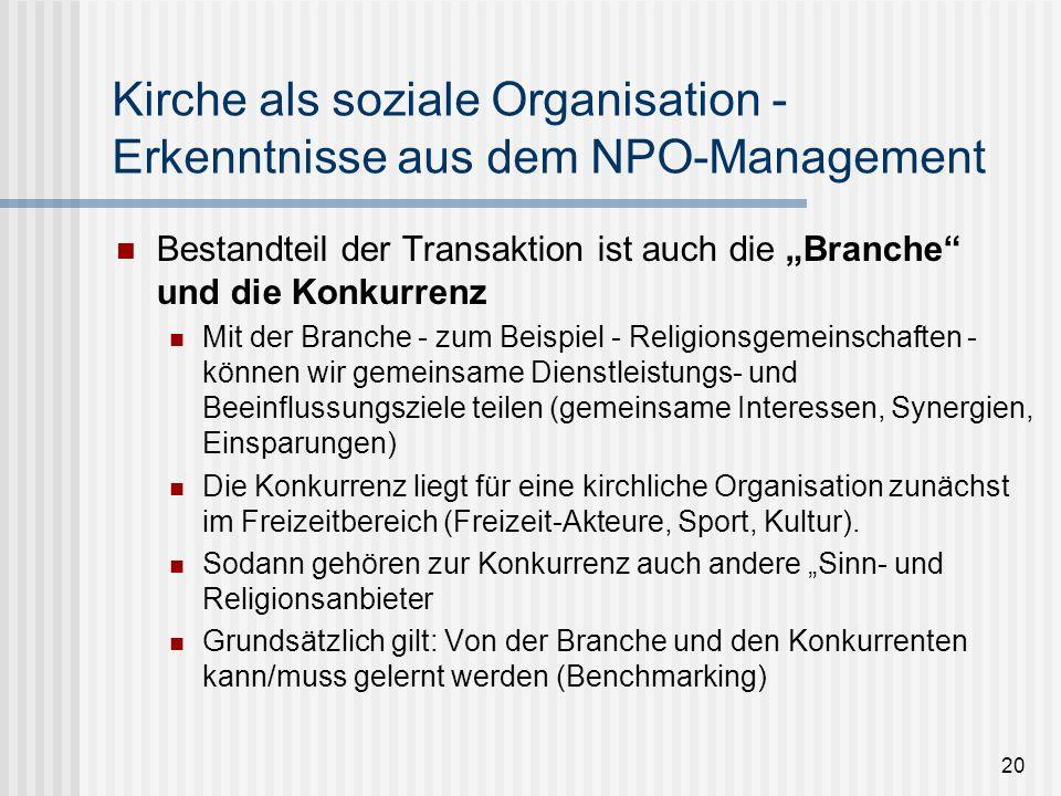 Kirche als soziale Organisation - Erkenntnisse aus dem NPO-Management