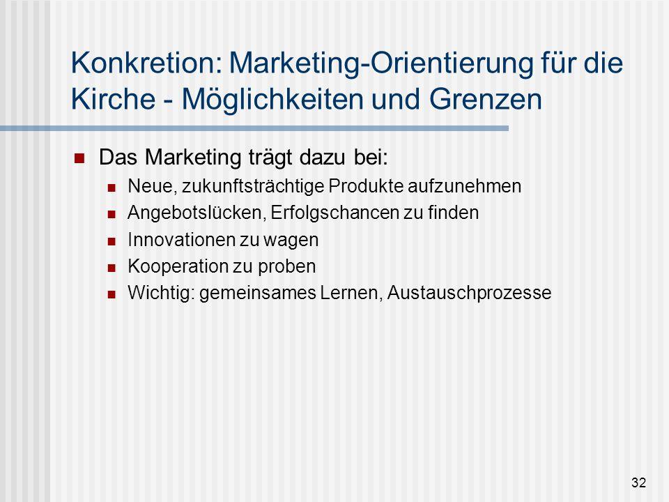 Konkretion: Marketing-Orientierung für die Kirche - Möglichkeiten und Grenzen