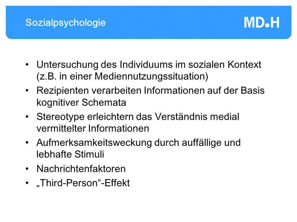 Sozialpsychologie Untersuchung des Individuums im sozialen Kontext (z.B. in einer Mediennutzungssituation)
