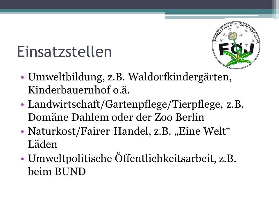 Einsatzstellen Umweltbildung, z.B. Waldorfkindergärten, Kinderbauernhof o.ä.