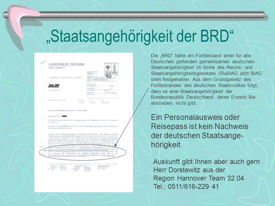"""""""Staatsangehörigkeit der BRD"""