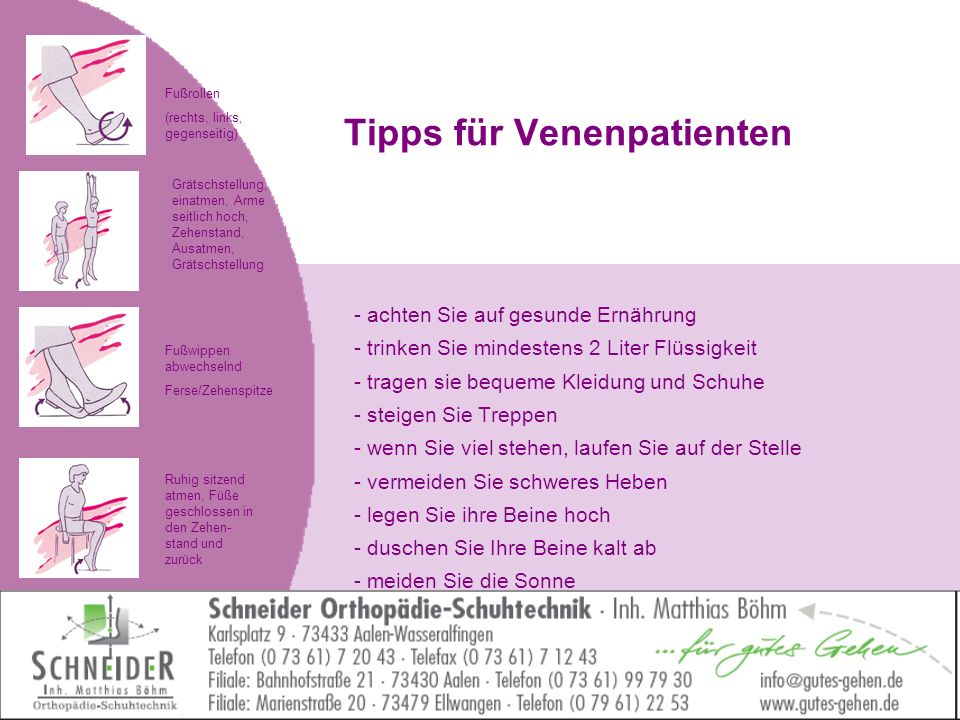 Tipps für Venenpatienten