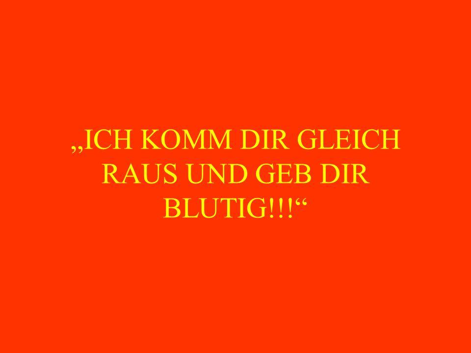 """""""ICH KOMM DIR GLEICH RAUS UND GEB DIR BLUTIG!!!"""