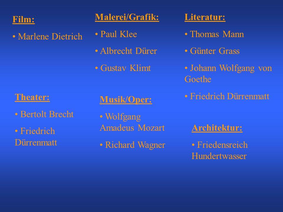 Malerei/Grafik: Paul Klee. Albrecht Dürer. Gustav Klimt. Literatur: Thomas Mann. Günter Grass.
