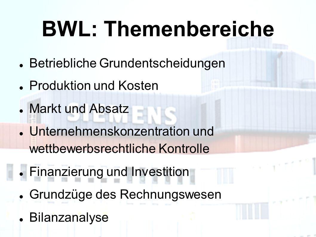 BWL: Themenbereiche Betriebliche Grundentscheidungen